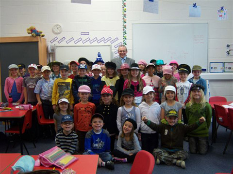 Both Lower 4 classes at Albyn School in their hats!